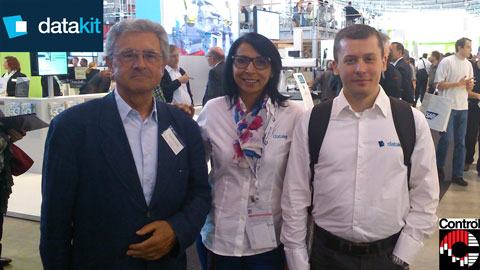 Halima and Arnaud from Datakit at Control 2014 with Werner Hochreiter, German Datakit reseller