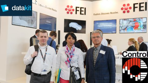 Halima and Arnaud from Datakit at FEI's booth (Datakit customer) with Werner Hochreiter, German Datakit reseller
