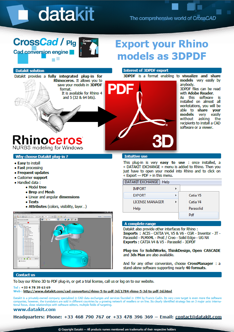 Datakit converter to 3D PDF for Rhino