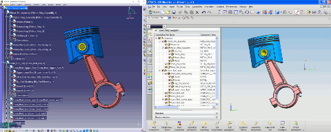 CATIA V5™ assembly (left) converted in a NX™ assembly (right)