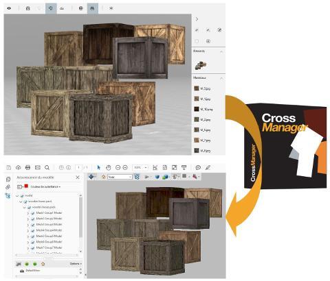 Fichier OBJ texturé converti en PDF 3D avec CrossManager.