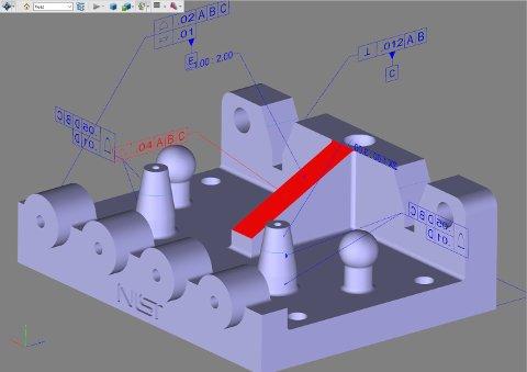 Fichier Creo converti en PDF 3D avec CrossManager. Les PMI sont conservées et la sélection d'une PMI met en surbrillance l'entité correspondante.