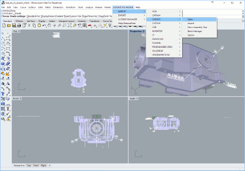 CATIA V5 file imported in Rhino 6 using the menu added by CrossCad/Plg