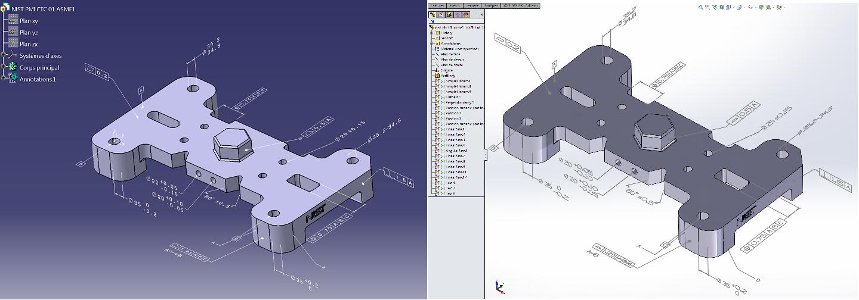 Fichier CATIA V5 (à gauche) importé dans SolidWorks (à droite) avec ses PMI