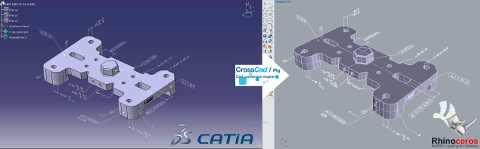 CATIA V5 file (left) imported in Rhino (right) with its PMI