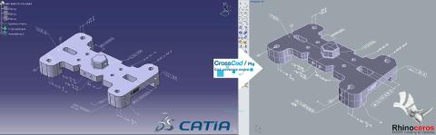 Fichier CATIA V5 (à gauche) importé dans Rhino (à droite) avec ses PMI