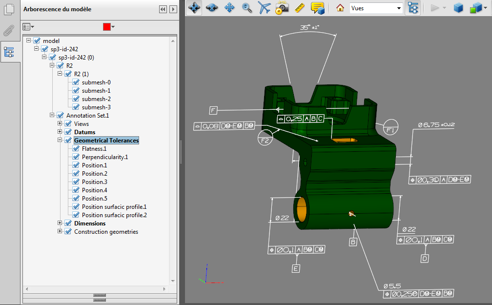 3DPDF file containing PMIs