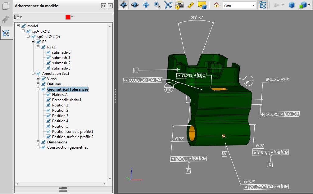 Fichier PDF 3D contenant des PMI